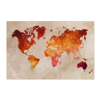 Weltkarteacryl Acryl Wandkunst