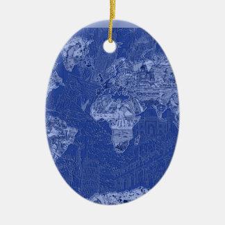 Weltkarteblau Ovales Keramik Ornament