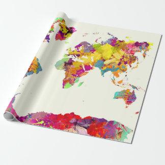 Weltkartefarben Geschenkpapier