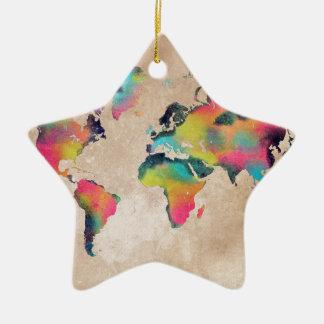 Weltkartefarben Keramik Stern-Ornament