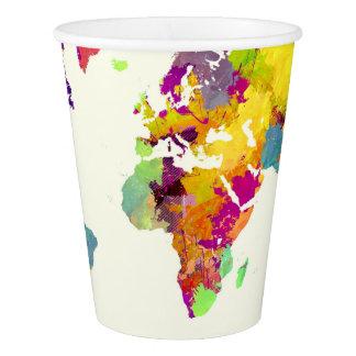 Weltkartefarben Pappbecher