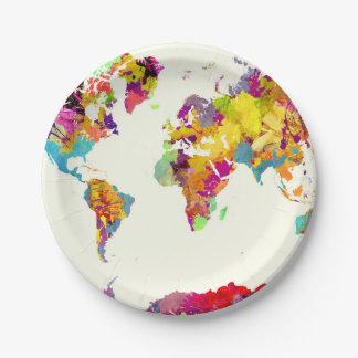 Weltkartefarben Pappteller