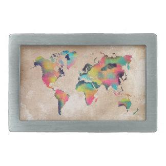 Weltkartefarben Rechteckige Gürtelschnalle