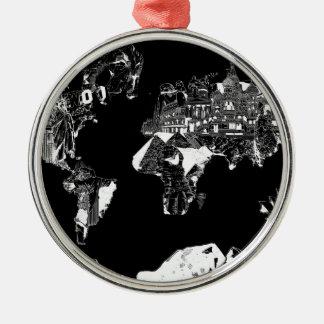 Weltkartegalaxie Schwarzweiss-1 Rundes Silberfarbenes Ornament