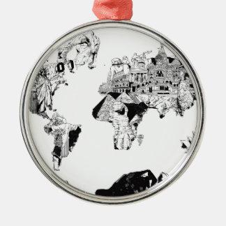 Weltkartegalaxie Schwarzweiss-3 Rundes Silberfarbenes Ornament