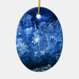 Weltkartegalaxieblau 2 ovales keramik ornament