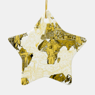 Weltkartegold Keramik Stern-Ornament