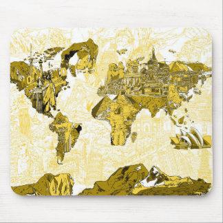 Weltkartegold Mauspad