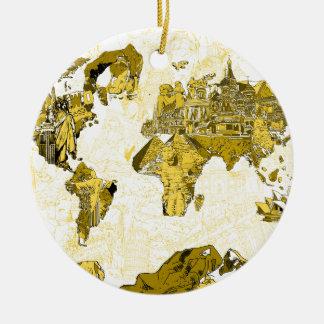 Weltkartegold Rundes Keramik Ornament