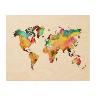 Weltkarteholzkunst Holzwanddeko