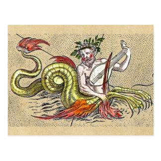WeltkarteMerman und Lyre Postkarte