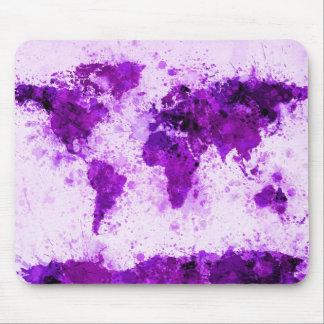 Weltkarten-Farbe spritzt Lila Mauspads