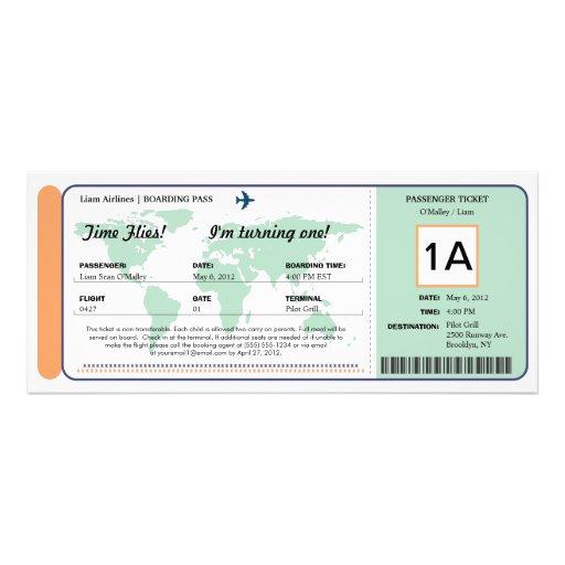 Weltkarten-Geburtstags-Boarding-Durchlauf-Karte Personalisierte Ankündigung