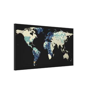 Weltkarten-Silhouette - die große Welle weg von Leinwanddruck