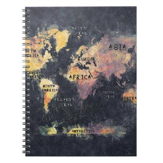 Weltkarteozeane und -kontinente spiral notizbuch