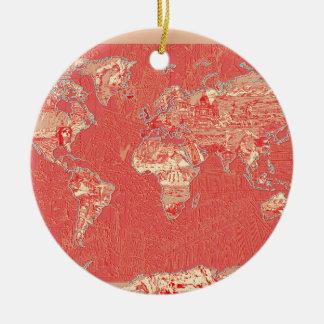 Weltkarterot Keramik Ornament