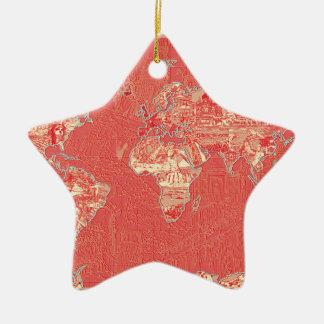 Weltkarterot Keramik Stern-Ornament