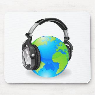 Weltkugel-Musikkopfhörer Mousepad