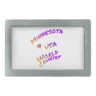 Weltland Minnesotas USA, bunte Textkunst Rechteckige Gürtelschnalle