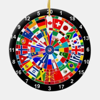 WeltLandesflaggepfeil-Brettspiel-Reise Stiere-e Keramik Ornament