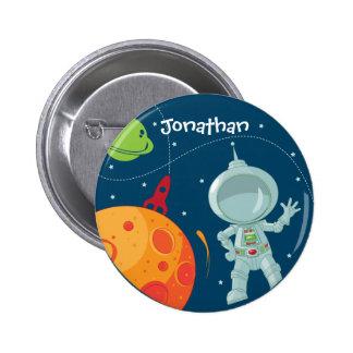 Weltraum-Astronauten-Geburtstags-Bevorzugungs-Knop Runder Button 5,7 Cm