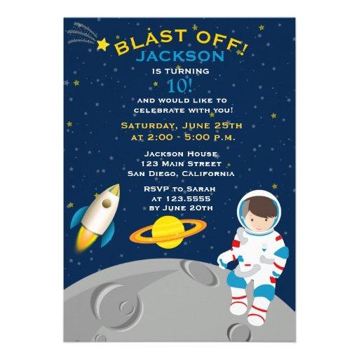 Weltraum-Astronauten-Geburtstags-Party Einladung