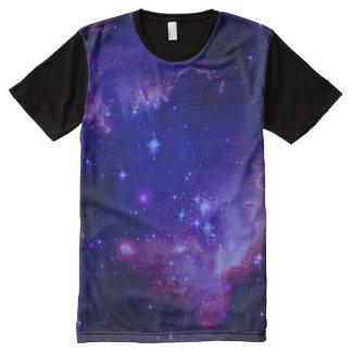 Weltraum-Galaxie/Nebelfleck-blaue Tönung spielt T-Shirt Mit Komplett Bedruckbarer Vorderseite
