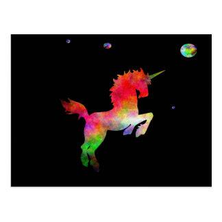 Weltraum-Multi-hued Einhorn Postkarte