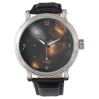 Weltraum-Sterngalaxien Monogramm Stephans Armbanduhr