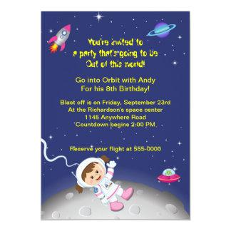 Weltraum-Thema-Mädchen-Geburtstag Karte