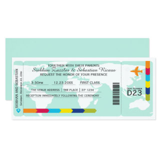 Weltreise-Boarding-Durchlauf-Hochzeits-Karte 10,2 X 23,5 Cm Einladungskarte