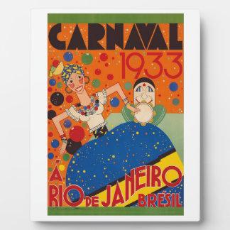 Weltreise-Plakat Brasilien-Karnevals-1933 Vintages Fotoplatte