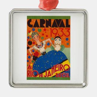 Weltreise-Plakat Brasilien-Karnevals-1933 Vintages Silbernes Ornament