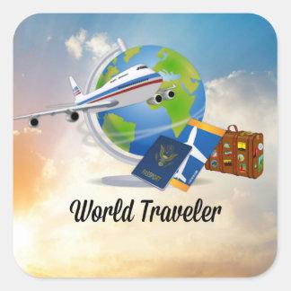 Weltreisender, Entwurf 2 Quadratischer Aufkleber