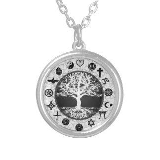 Weltreligions-Baum des Lebens Halskette Mit Rundem Anhänger
