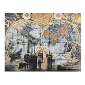 Welts-Karte - heraus zum Meer Postkarte