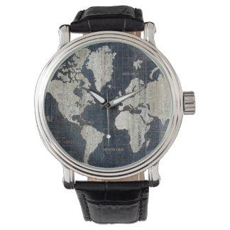 Welts-Karten-Blau Armbanduhr