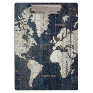 Welts-Karten-Blau Klemmbrett