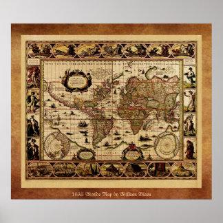 Welts-Karten-Plakat 1635 Poster