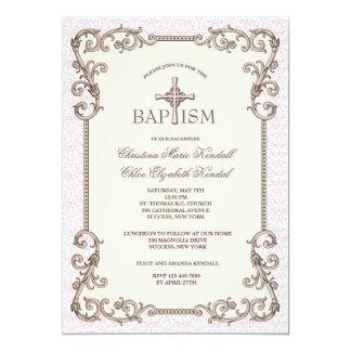Welts-rosa Taufe paart Einladung