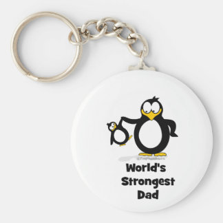 Weltstärkster Vati-Pinguin Standard Runder Schlüsselanhänger