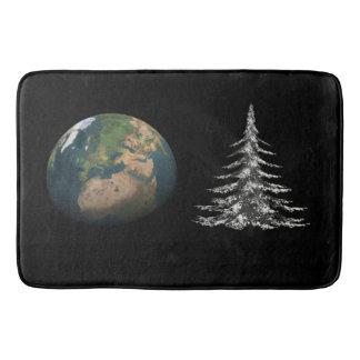 Weltweihnachten und Tannenbaum Badematte