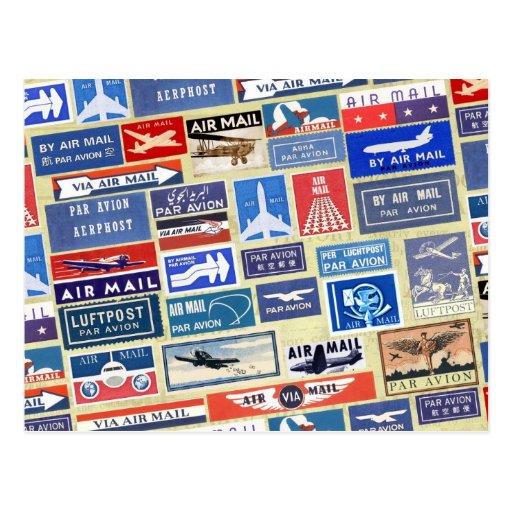 Weltweite Luftpost-Aufkleber Postkarten