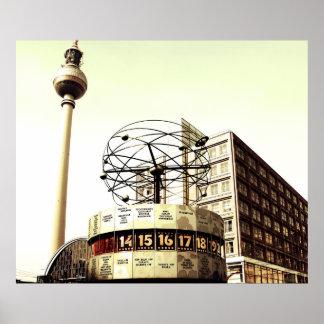 Weltzeituhr Fernsehturm Berlin Plakatdruck
