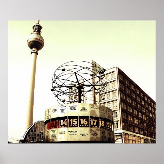 Weltzeituhr Fernsehturm Berlin Poster