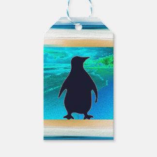 Wenig Aqua-blauer Pinguin-Geschenk-Umbau Geschenkanhänger