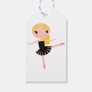 Wenig Ballerinamädchenschwarzes mit blondem Geschenkanhänger