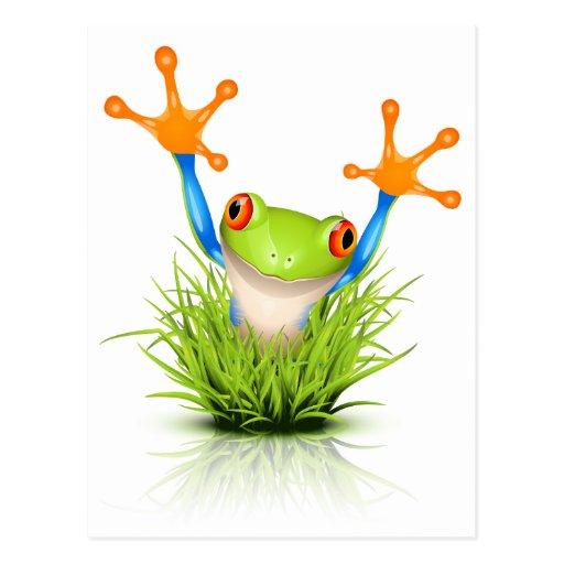 Wenig Baum-Frosch im Gras Postkarte