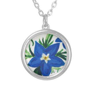 wenig blaue Blumensammlung Versilberte Kette