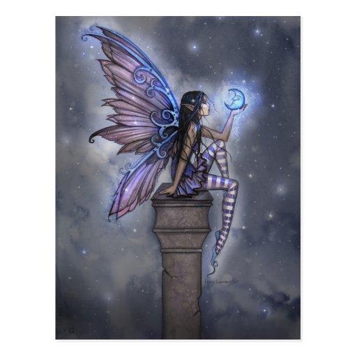 Wenig blauer Mond-feenhafte Fantasie-Postkarte